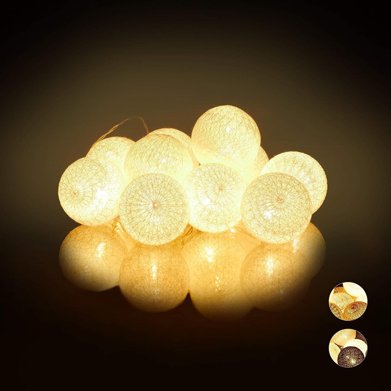 Lumi/ères d/'Ambiance polystyr/ène 10 Boules Coton Blanc-Gris-Marron Fonction Piles 160 cm Sph/ères /Ø6 cm Relaxdays 10024370/_880 Guirlande Lumineuse LED