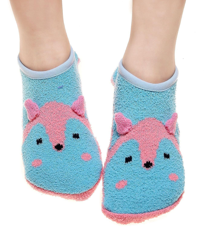 Shark Tooth Women Slipper Socks with Grips Cotton Low Cut BSlipperSocks02FoxBlue