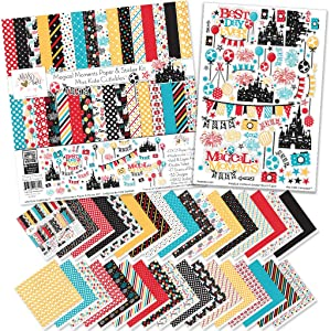 Paper & Sticker Kit - Magical Moments for Disney - 17 Double-Sided 12x12 Papers with 33 Designs & 1 8X12 Sticker Sheet - Scrapbooking Card Making Crafting - by Miss Kate Cuttables