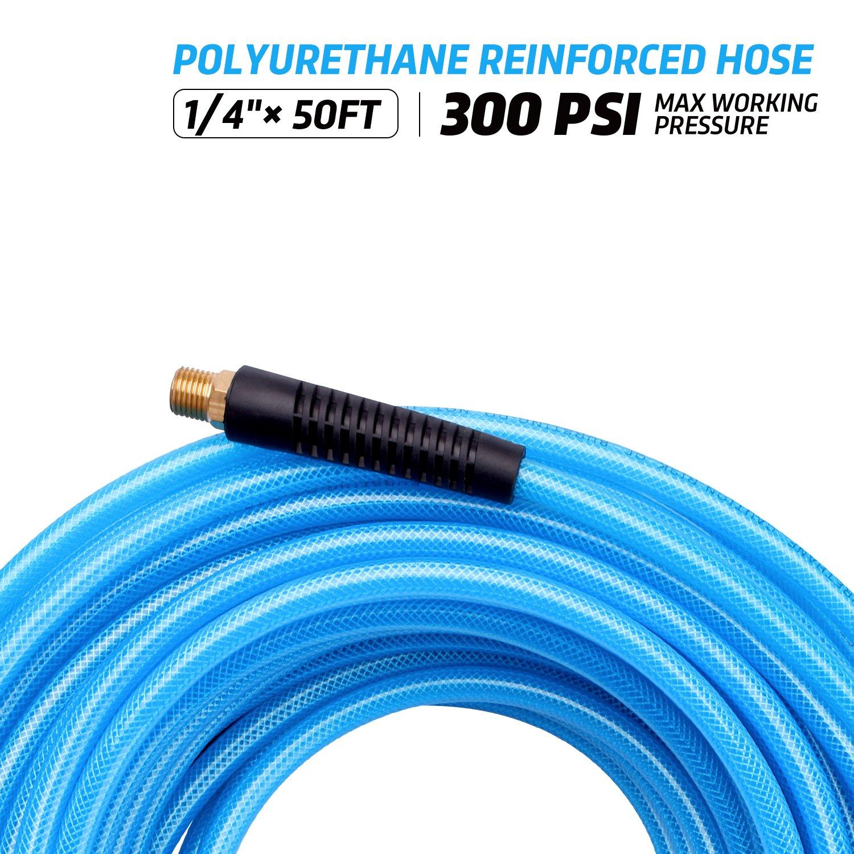 WYNNsky Reinforced Polyurethane PU Air Compressor Hose with 1//4 MNPT Brass Endings PU 300 PSI Air Hose 50 Feet x 1//4 Inch