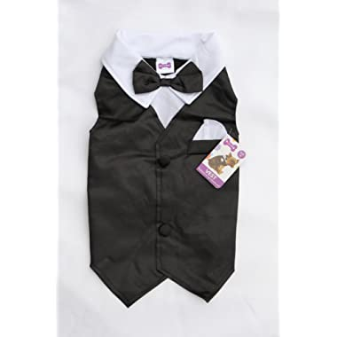Dog Tuxedo Vest Wedding Party Outfit Costume for Small and Medium Dogs