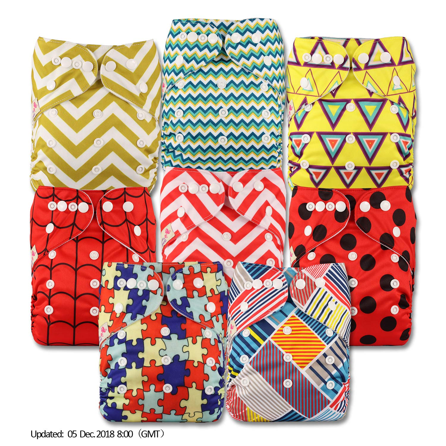 Littles /& Bloomz Fastener: Popper Set of 8 Patterns 810 with 16 Bamboo Charcoal Inserts Reusable Pocket Cloth Nappy