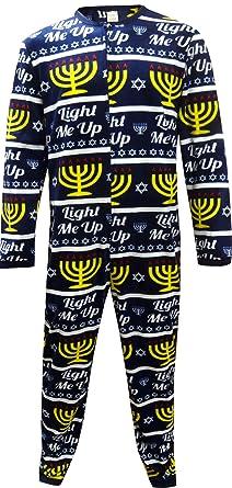 Hanukkah Menorah Light Me UP One Piece Union Suit Pajama for men (2X)