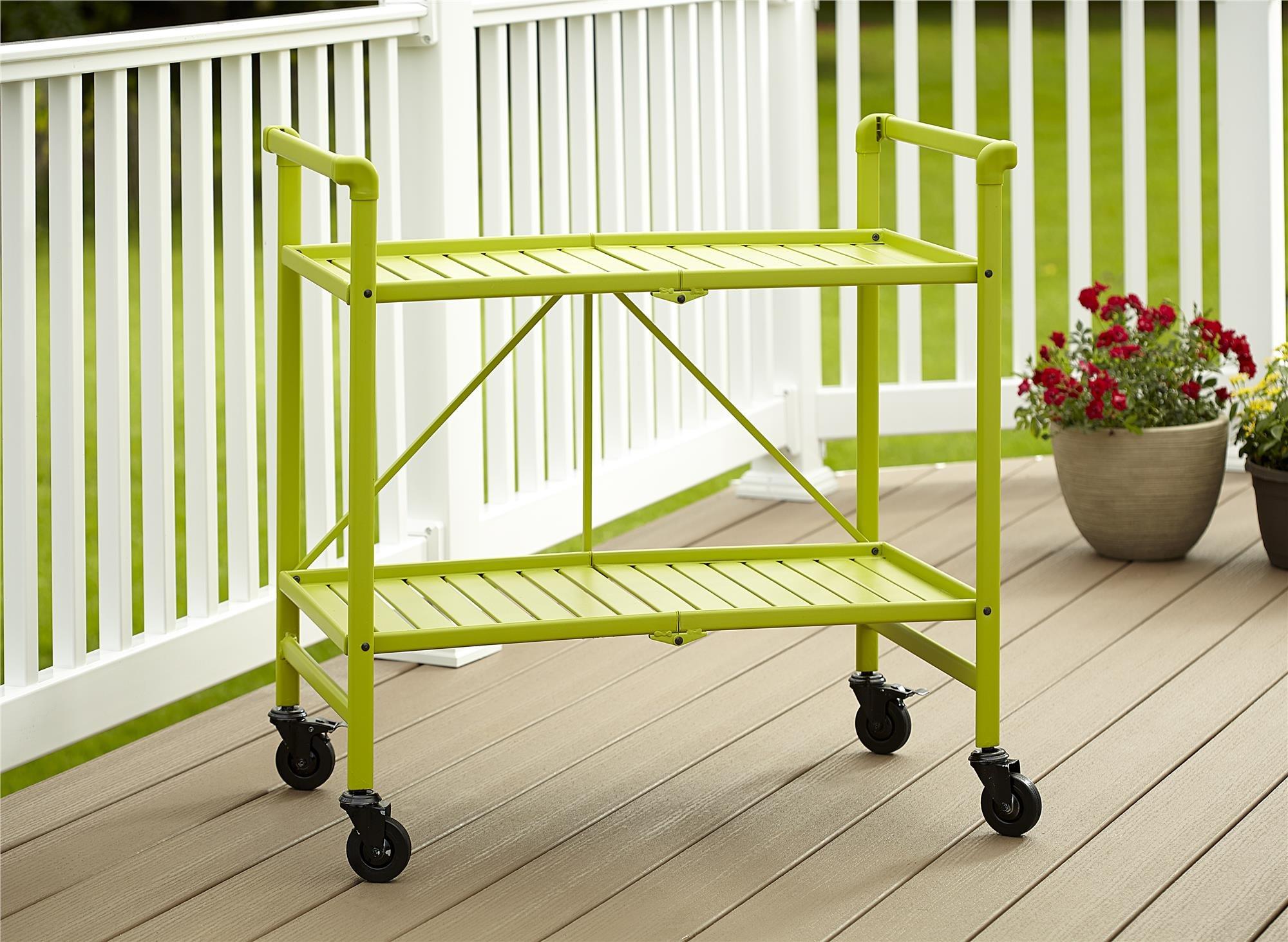 Cosco Indoor/Outdoor Serving Cart, Folding, Bright Green