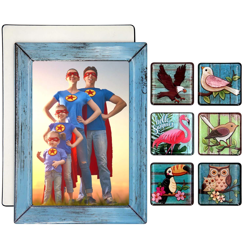 5x7 Fridge Magnets Grandkids Photo Frame -6PC Birds Refrigerator Magnet + Picture Frames Base + Cover - Cute Family Collage Grandson Pictures Magnetic Sleeves Locker For Stainless Steel Refridgerator