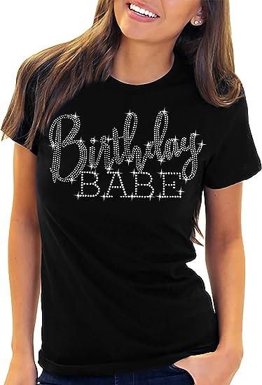 Amazon.com: RhinestoneSash playera de cumpleaños para mujer ...