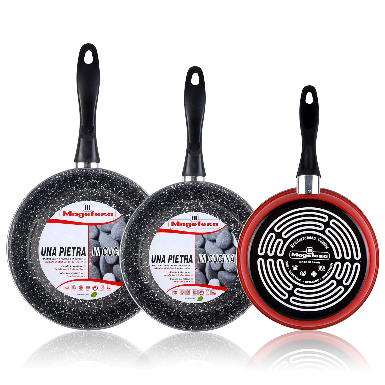 Magefesa K2 Rojo - Set Juego 3 Sartenes 20-24-28 cm, inducción, Antiadherente Piedra Libre de PFOA, Limpieza lavavajillas Apta para Todas Las cocinas, ...