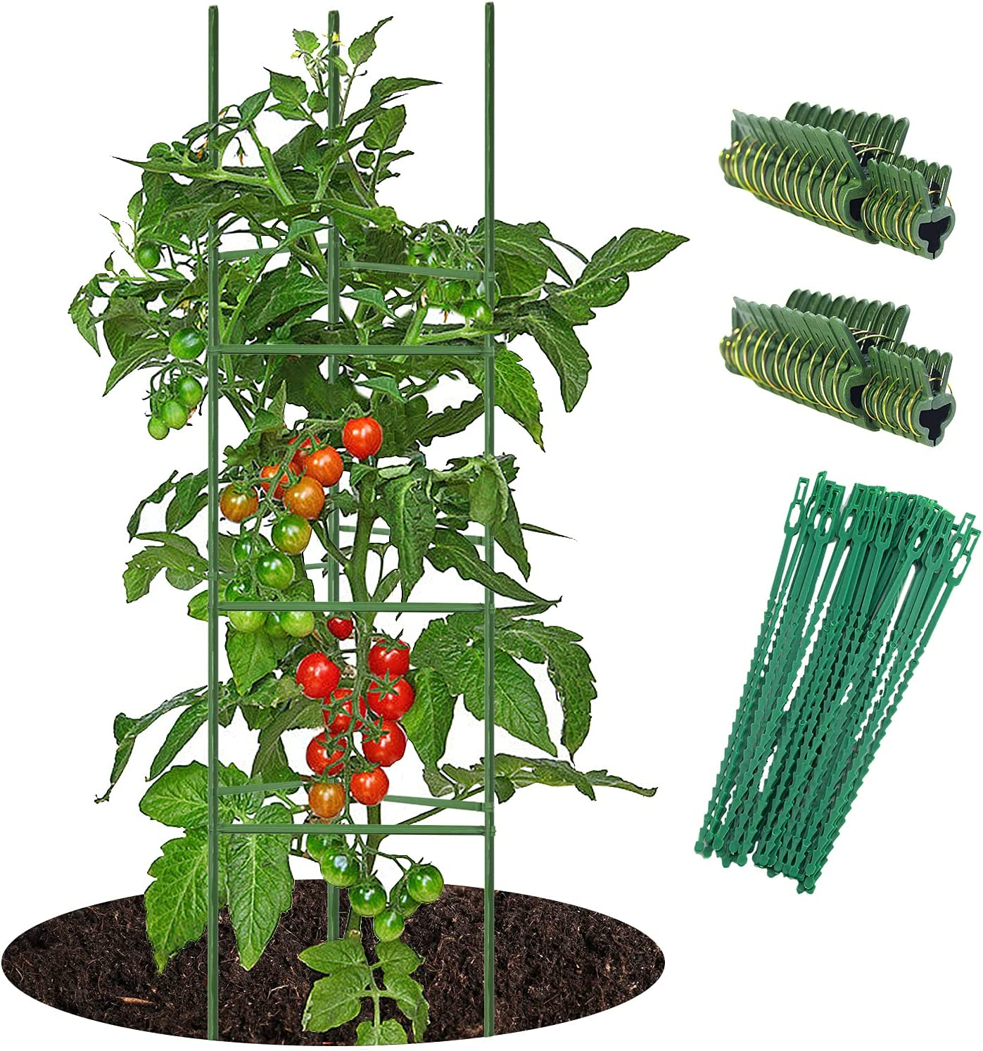 5ft 5-Set Tomato Cage Support Green Garden Plant Stakes for Climbing, 20 Pack Clips and 50 Pcs Plant Ties Include