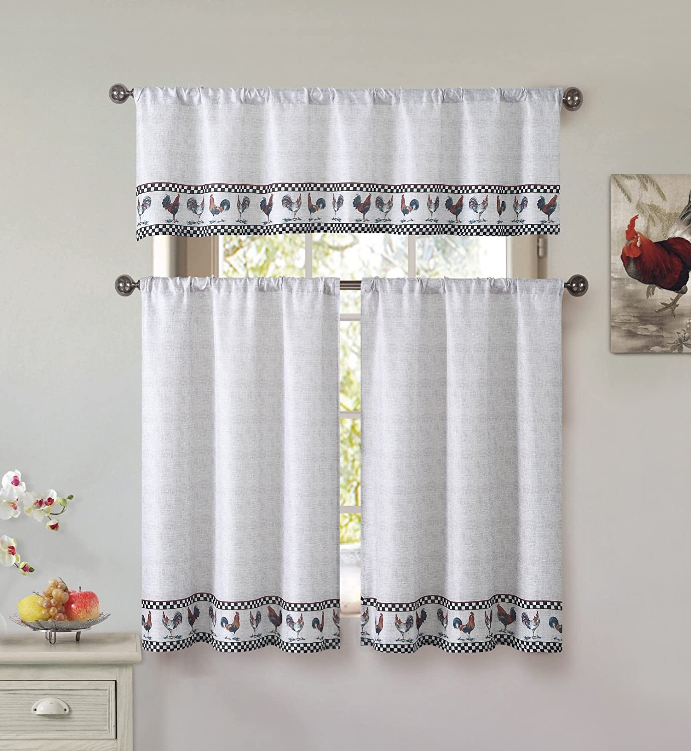 Cotton Blend 3 Piece Kitchen/Cafe Tier Window Curtain Set: Rooster and Check Design