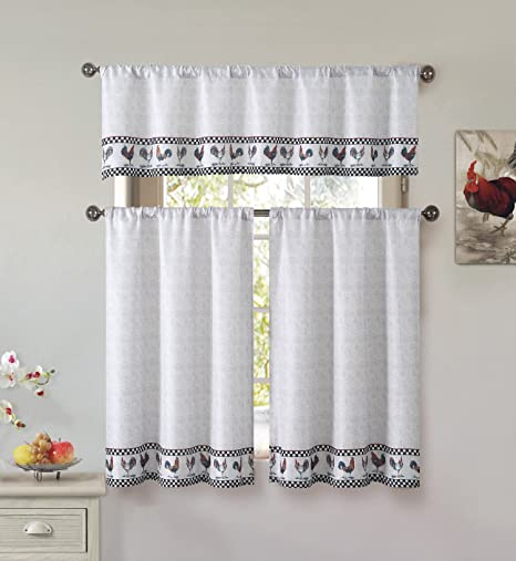 Cotton Blend 3 Piece Kitchen Cafe Tier Window Curtain Set Rooster And Check Design