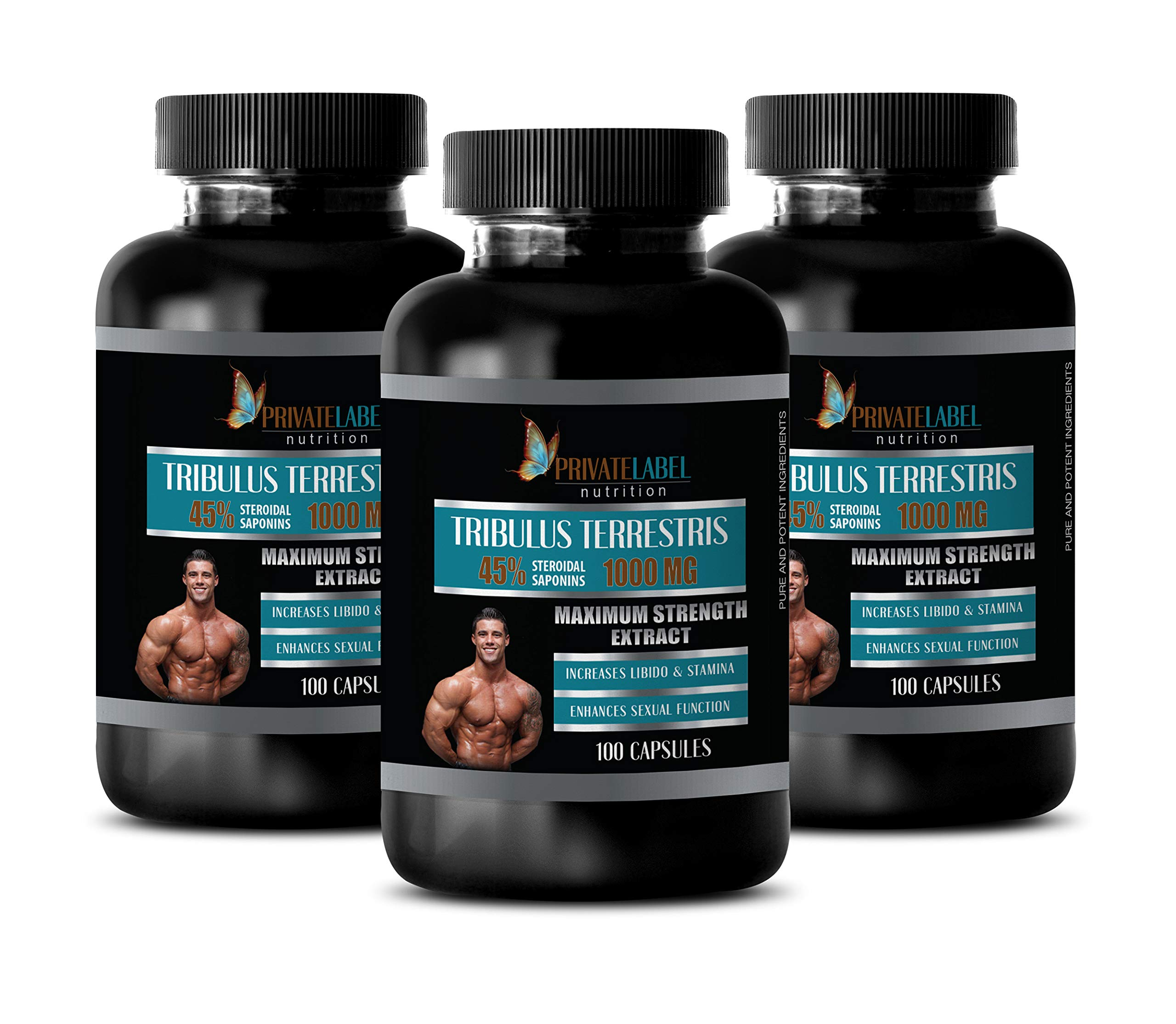 Boost Testosterone Booster for Men - TRIBULUS TERRESTRIS 45% STEROIDAL SAPONINS 1000MG - Maximum Strength Extract - tribulus terrestris 100mg for Men - 3 Bottles 300 Capsules