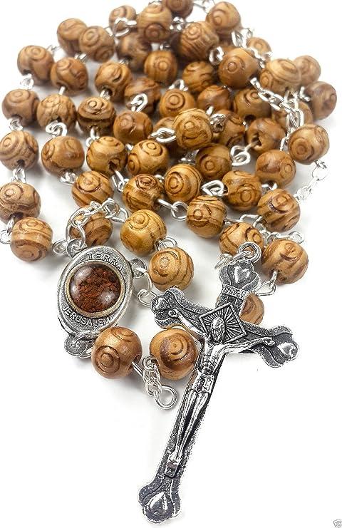 5bc655e1b48f Nazareth Market Store Madera de Olivo Tallada Cuentas oración Rosario  católico Collar Suelo Santo Medalla y