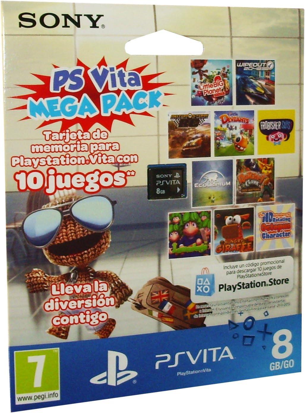 PlayStation Vita - Tarjeta De Memoria 8 GB + Mega Pack Voucher ...
