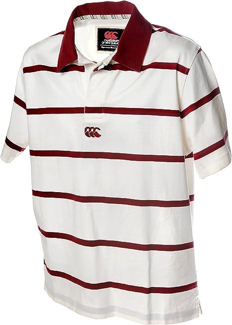 Camiseta de Rugby Canterbury Polo de rayas, blanco y rojo: Amazon ...