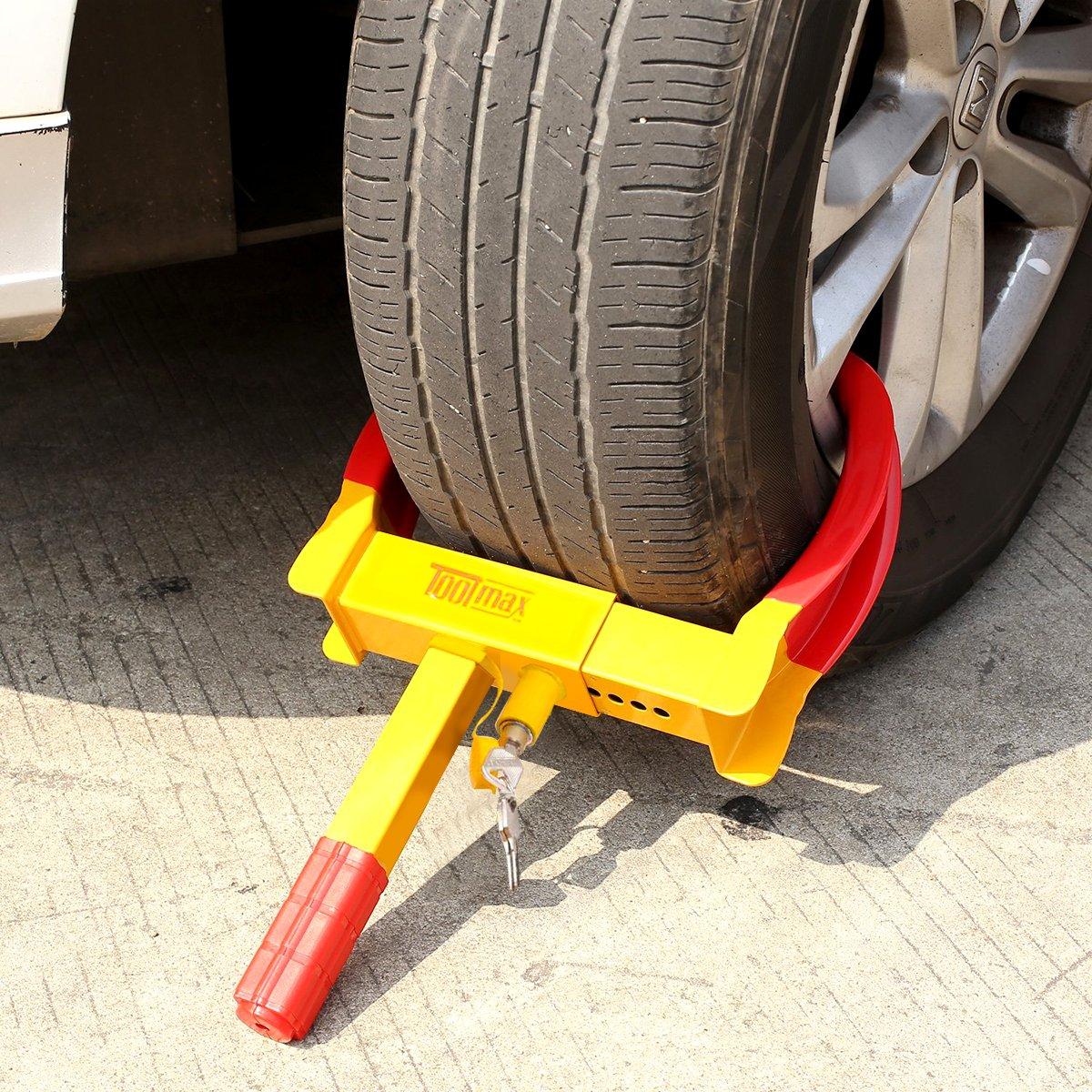 Parkkralle Diebstahlsicherung Reifenkralle Pkw Anh/änger COSTWAY Radkralle Wegfahrsperre Reifenklemme 3 Schl/üssel