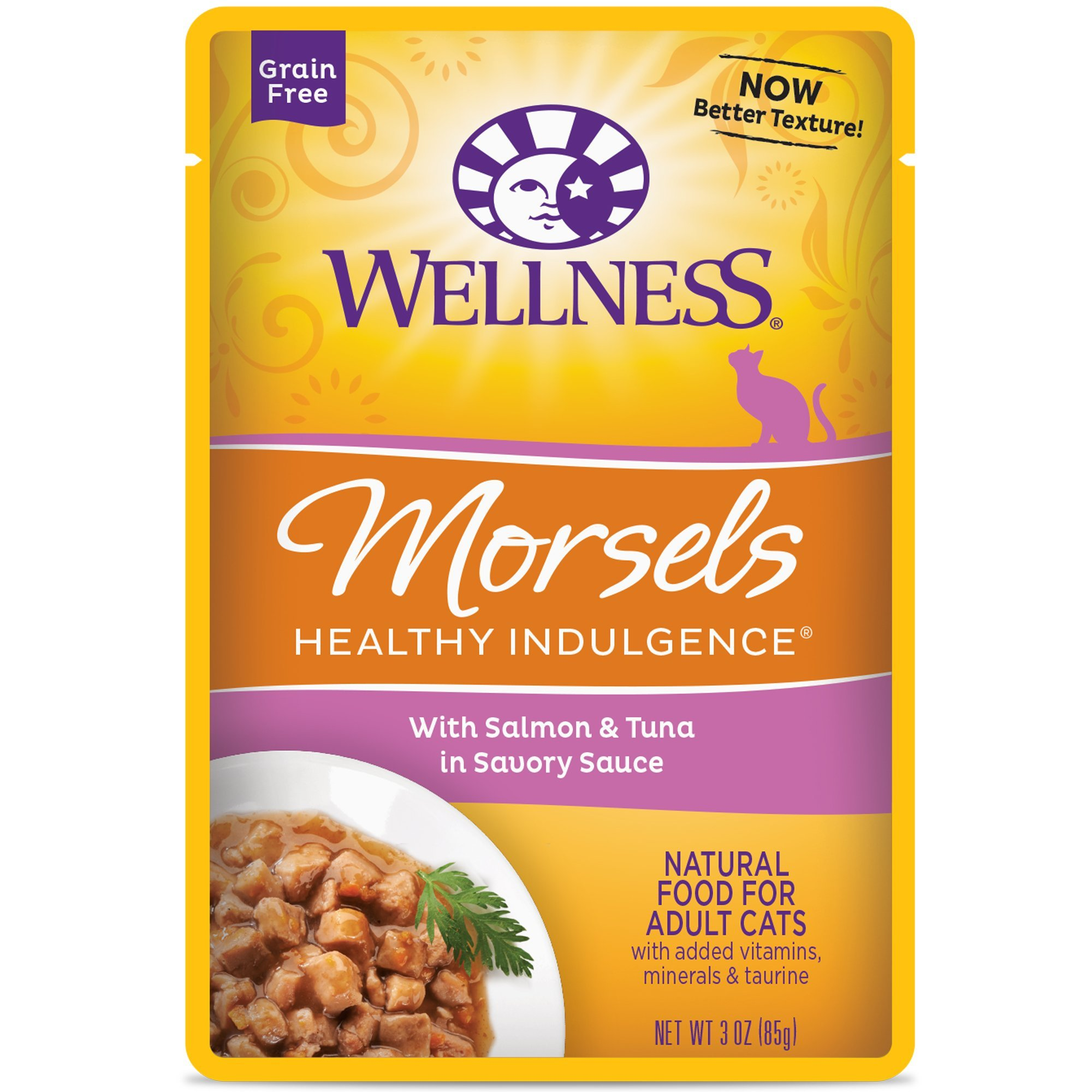 Wellness Healthy Indulgence Natural Grain Free Wet Cat Food, Morsels Salmon & Tuna, 3-Ounce Pouch (Pack of 24) by Wellness Natural Pet Food