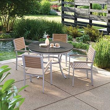 Oxford jardín travira aluminio 5 – Taco de granito redondo Patio Juego de mesa y sillas