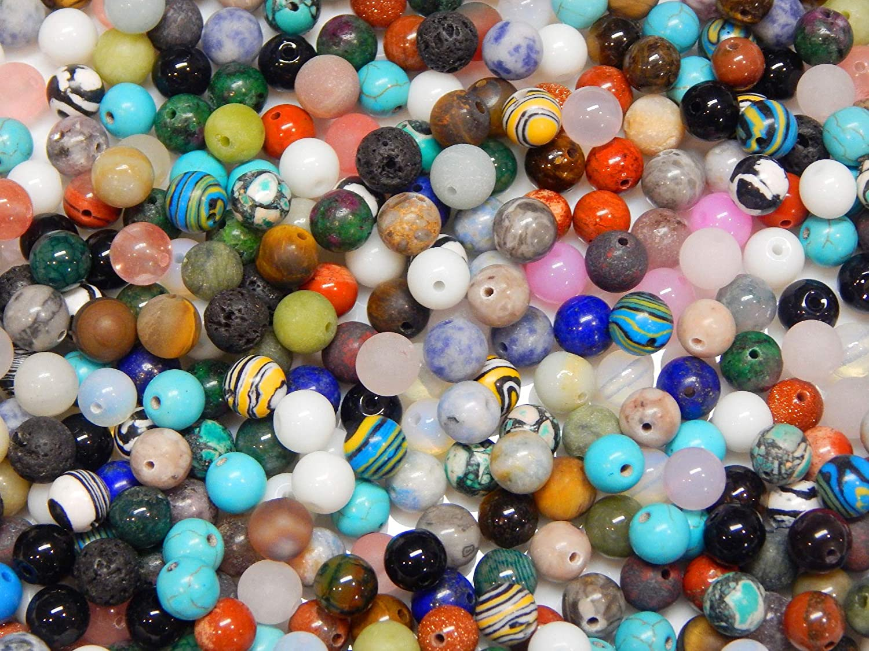 Piedras preciosas mixtas perlas redondas Set de lava, cuarzo, aventurina, amazonita, amatista, jade, piedra de luna, jaspe, sodalita, turquesa, ágata, 8mm 50 Stück