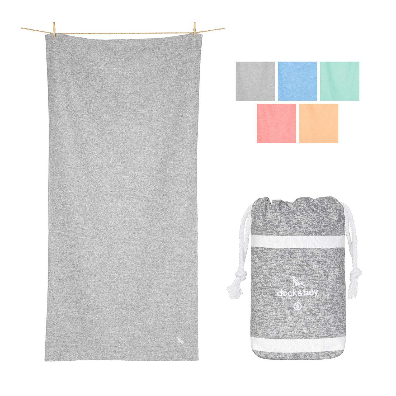 Dock & Bay Microfiber Towel - Gym & Fitness (Grey - Small 40x20) - Fast Dry Gym Sweat Towel, Compact Pocket Pouch