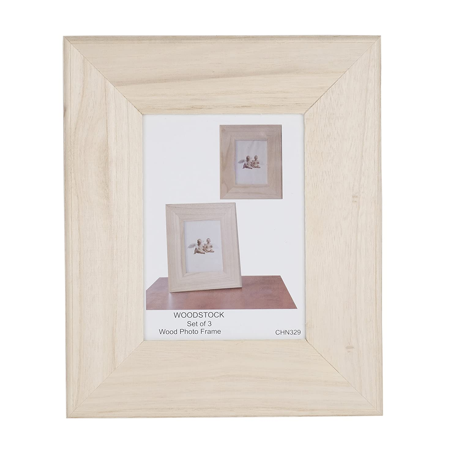 Amazon.com: Unfinished Solid Wood Photo Picture Frames 5 by 7 Inches ...