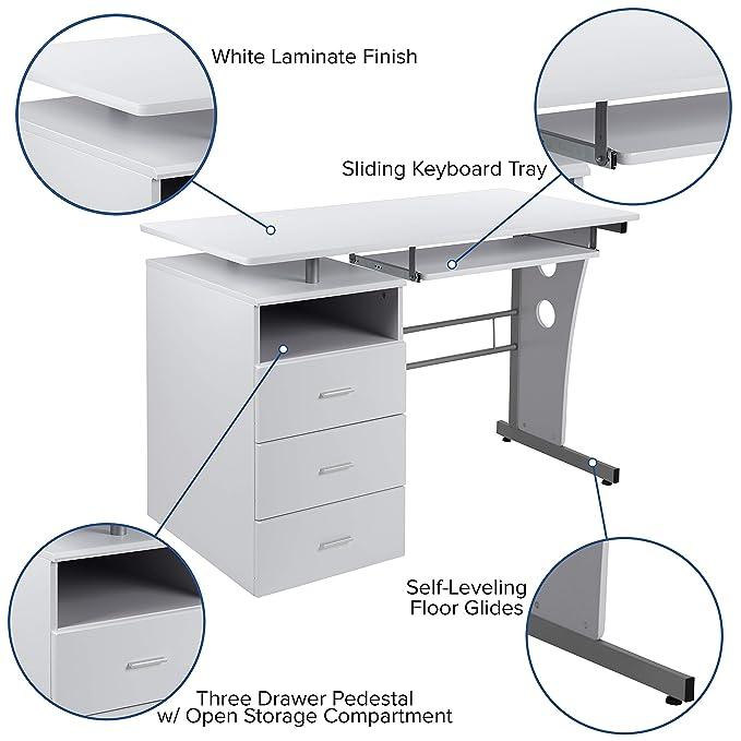 Flash Furniture White Computer Desk with Three Drawer Pedestal