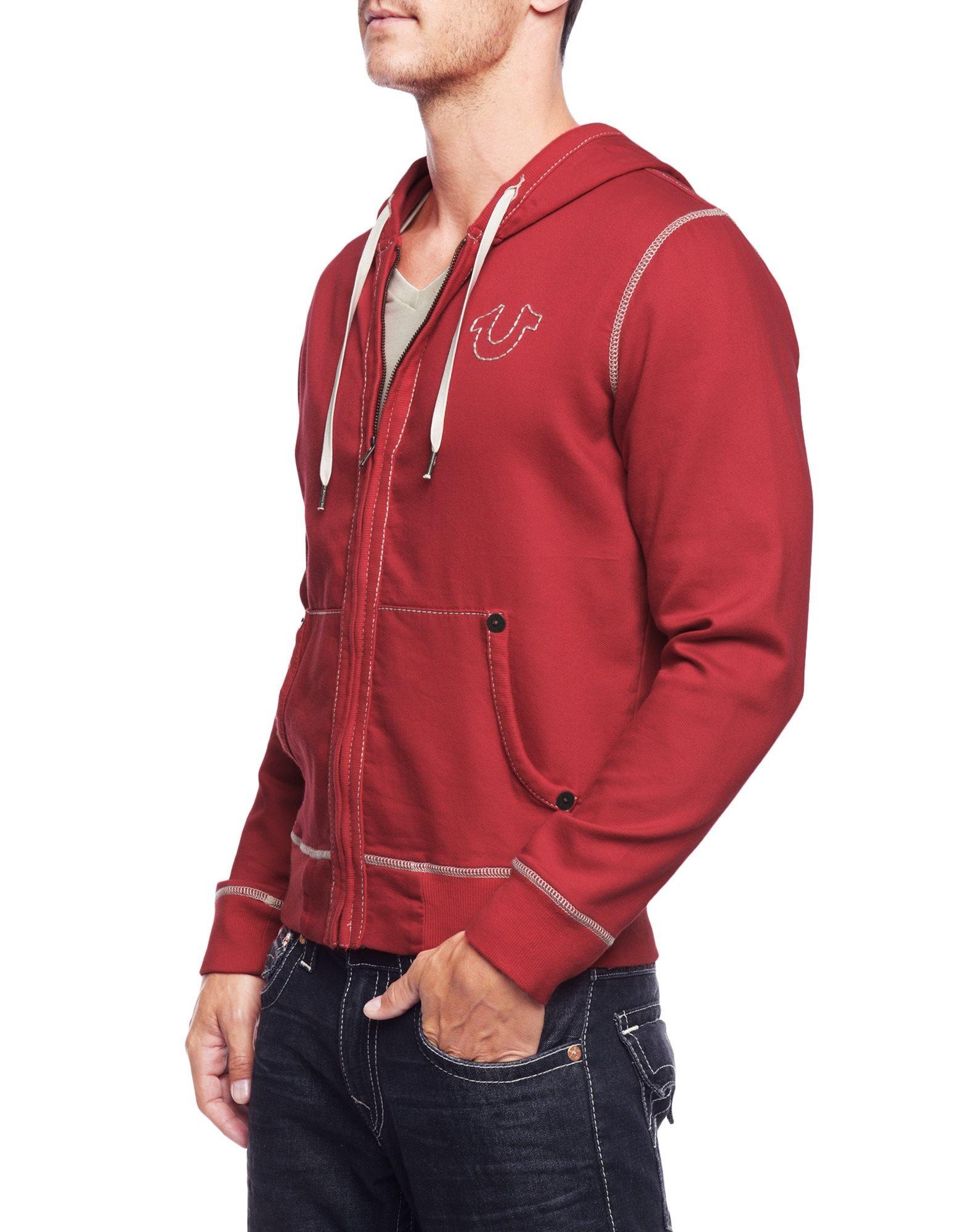 True Religion Men's Big T Stitch Hoodie Sweatshirt, Ruby Red, X-Large