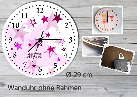 Amazon.de: Kinder Wanduhr Kinderuhr Kinderzimmer Uhr mit Namen ...