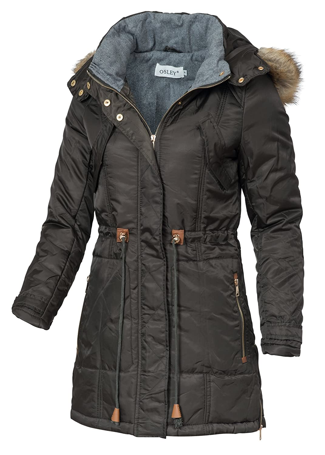 in vogue Damen Wintermantel IV065, warmer Mantel mit Kordelzug, Kapuze & Webpelz, khaki