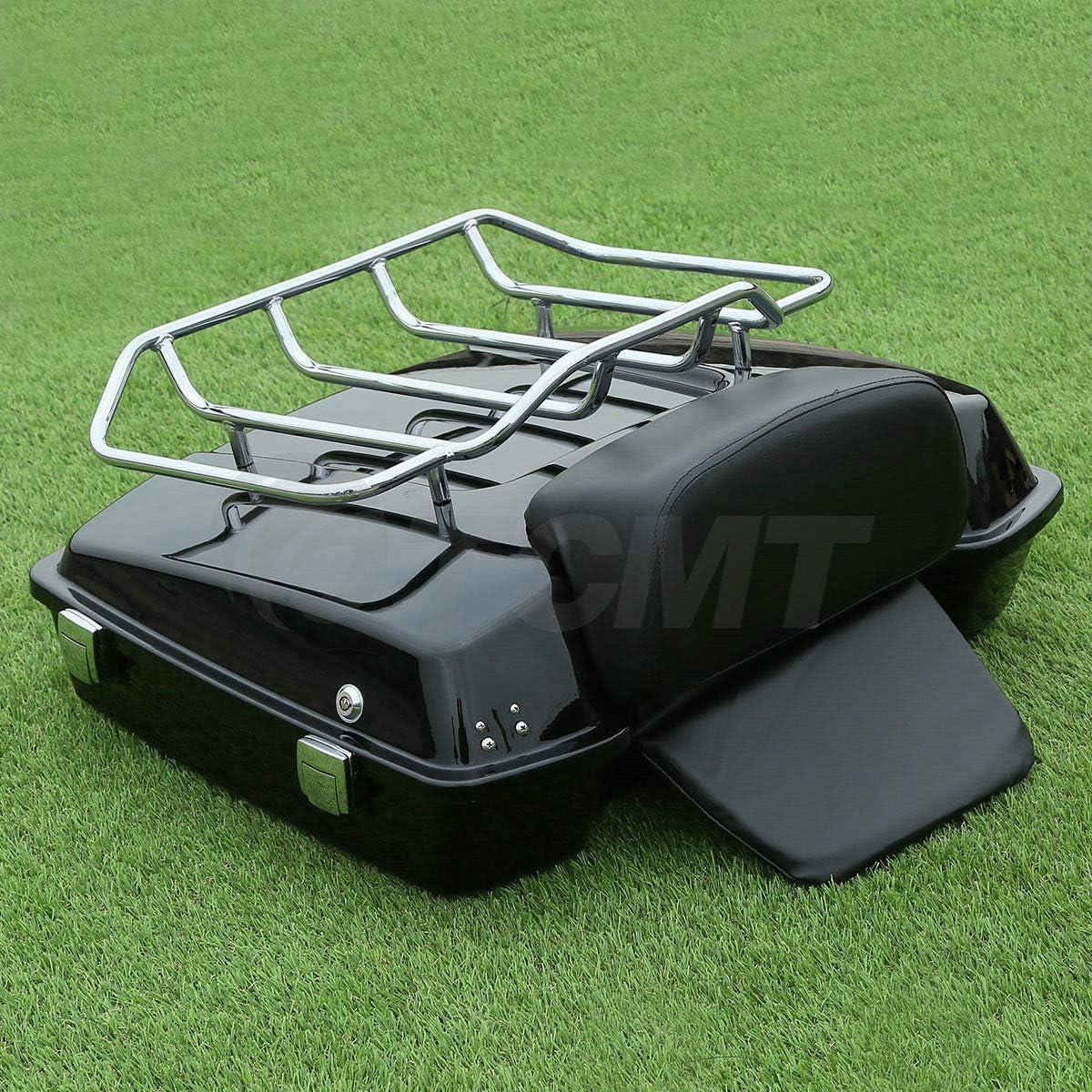 TCMT Razor Pack Trunk Top Luggage Rack Backrest Fit For Harley Tour Pak Glide 97-13