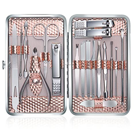 Profesional Cortaúñas Acero Inoxidable Grooming Kit - Set de 18 Piezas para Manicura y Pedicura Limpiador