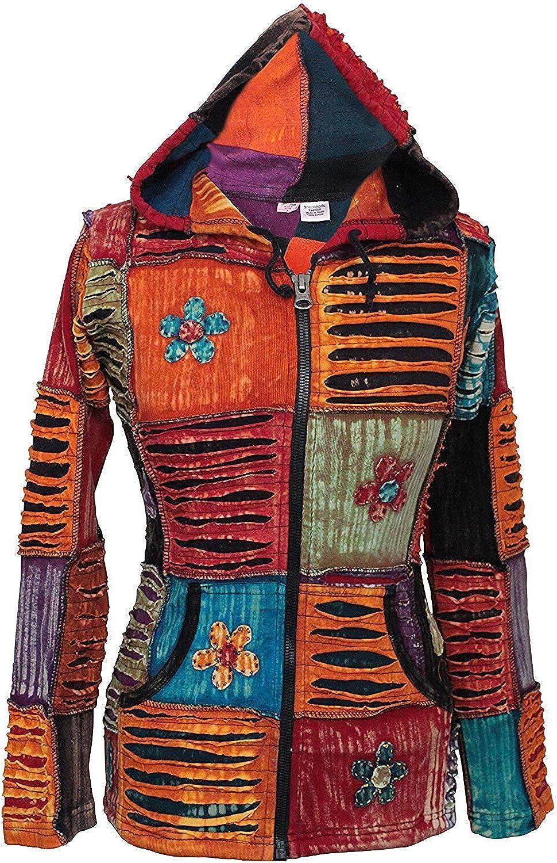 Shopoholic De Moda Para Dama Flor Bordada Con Vibración Color Hippy Chaqueta Con Capucha