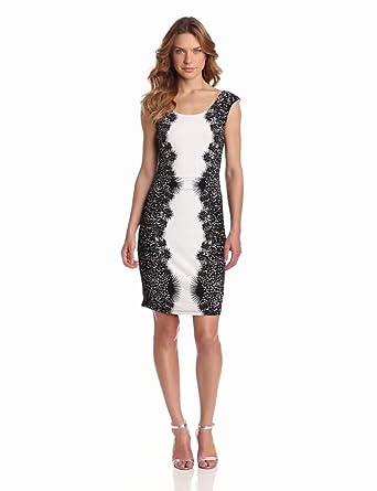 maxandcleo Women's Short Lace Inset Dress, Black Combo, XX-Small