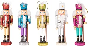 Clever Creations Traditional Wooden Collectible Chubby Soldier 5 Pack Nutcracker, Festive Christmas Décor Perfect for Shelves and Tables