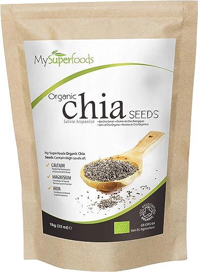 MySuperFoods Semillas de Chía Orgánicas 1kg, Fuente Natural de Omega-3 y Proteína