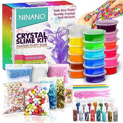 8e554f49e824 DIY Slime Kit for Girls Boys - Ultimate Glow in the Dark Glitter Slime  Making Kit