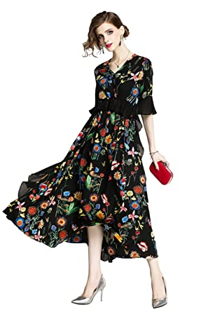 88fdb0847a4 Ababalaya Women s Elegant V-Neck Boho Floral 3 4 Sleeve Ruffle Maxi Beach  Party Dress at Amazon Women s Clothing store