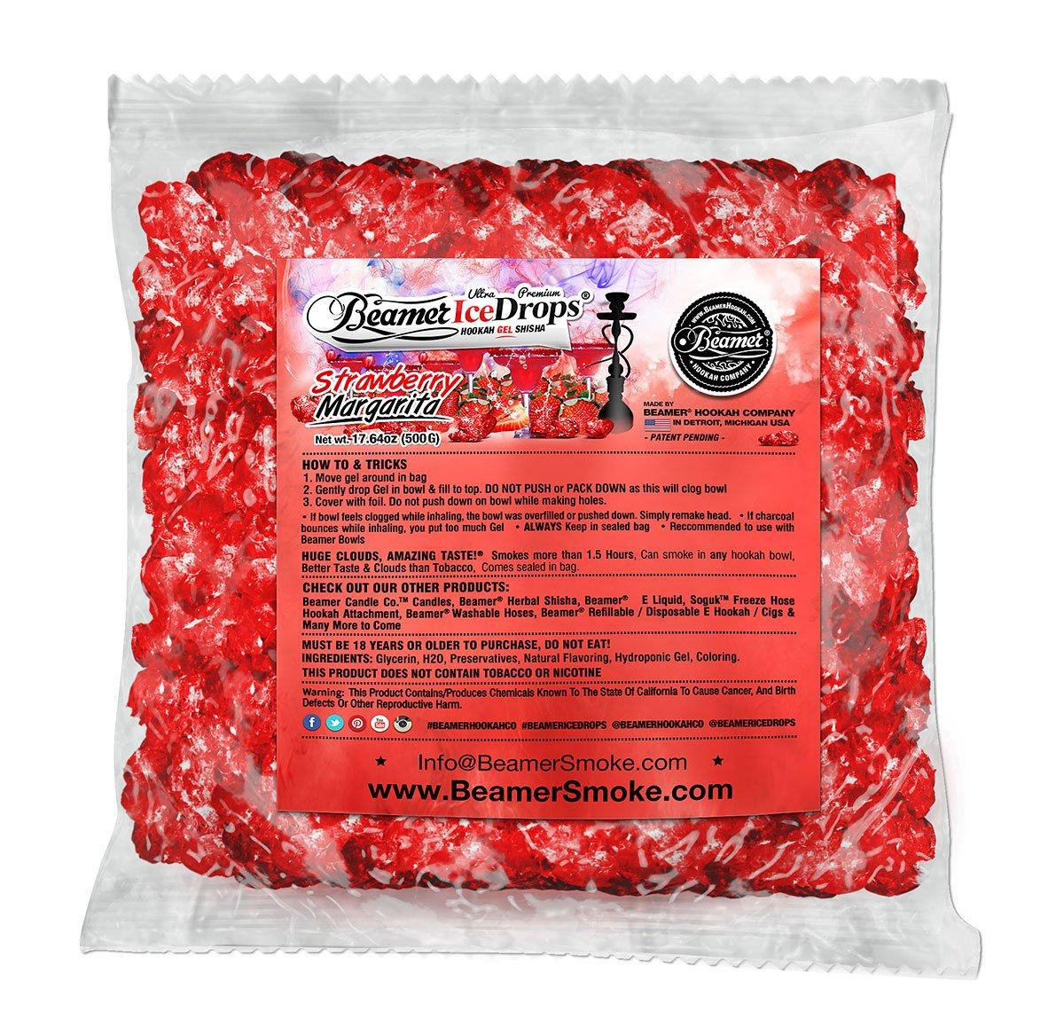 StrawBerry Margarita 1000G Ultra Premium Beamer Ice Drops Hookah Shisha Smoking Gel. Each bowl lasts 2-4 Hours! USA Made, Huge Clouds, Amazing Taste! Better Taste & Clouds than Tobacco!