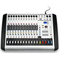 Professional MX-12 USB Portable Bluetooth Audio Sound Mixer with 12 Channels, 16 DSP Mixing Console