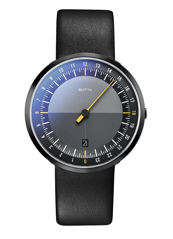 Einzeiger Armbanduhr – UNO 24 Black Edition von Botta-Design – Einzeigeruhr 24 Stunden fÜr Herren mit 24h Ziffernblatt