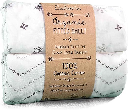 Guava Lotus - Juego de 2 sábanas bajeras de moisés de algodón 100% orgánico para bebés y recién Nacidos, sábanas bajeras Ajustables para moisés para niños y niñas: Amazon.es: Hogar