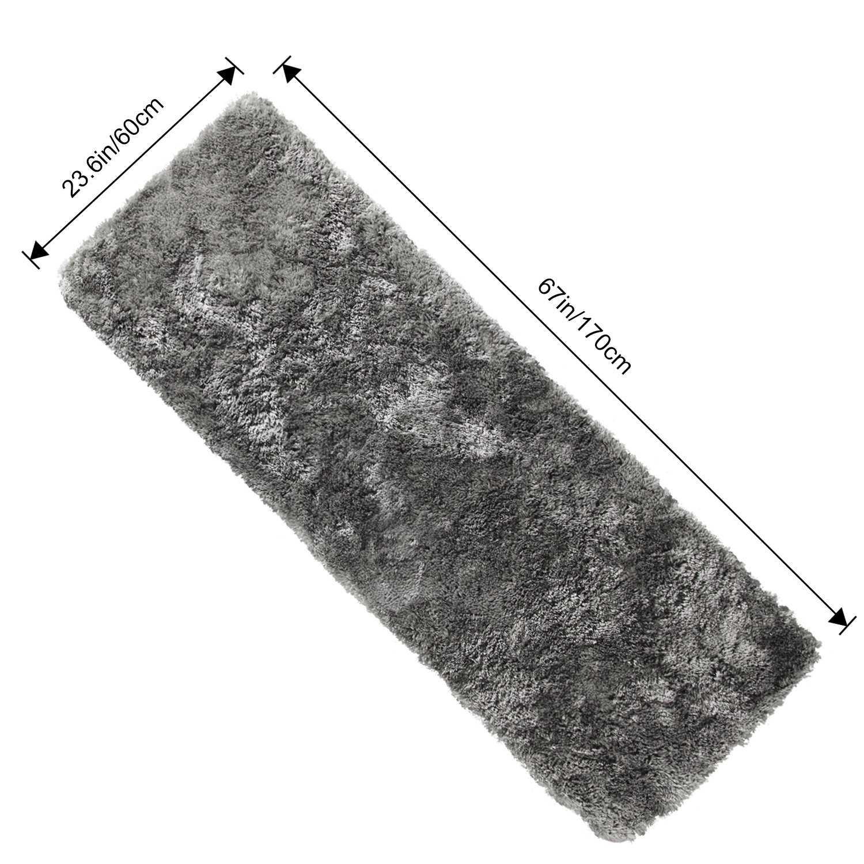 Lifewit Alfombras de Pasillo 170x60cm Larga Ultra Premium Microfibra Antideslizante /Área Trasera de Goma Alfombra para Sala de Estar Salon Dormitorio Ba/ño Gris