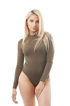 Khanomak Plain Long Sleeve Mock Neck Bodysuit  Amazon.co.uk  Clothing 8793bb523dc9