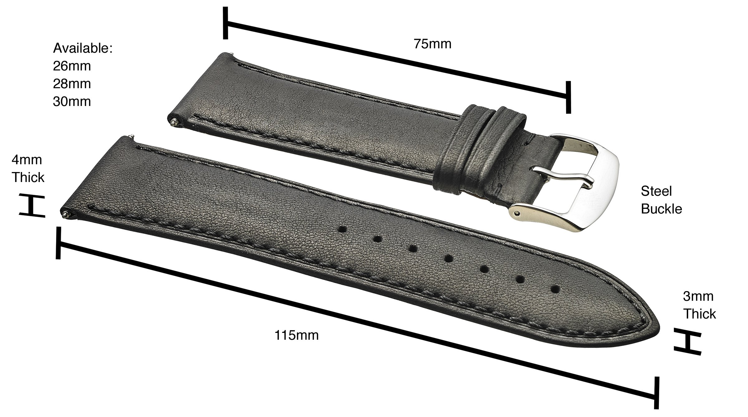 Genuine Leather Watch Band (fits Wrist Sizes 6-7 1/2 inch)- Black - 30mm by STUNNING SELECTION (Image #1)