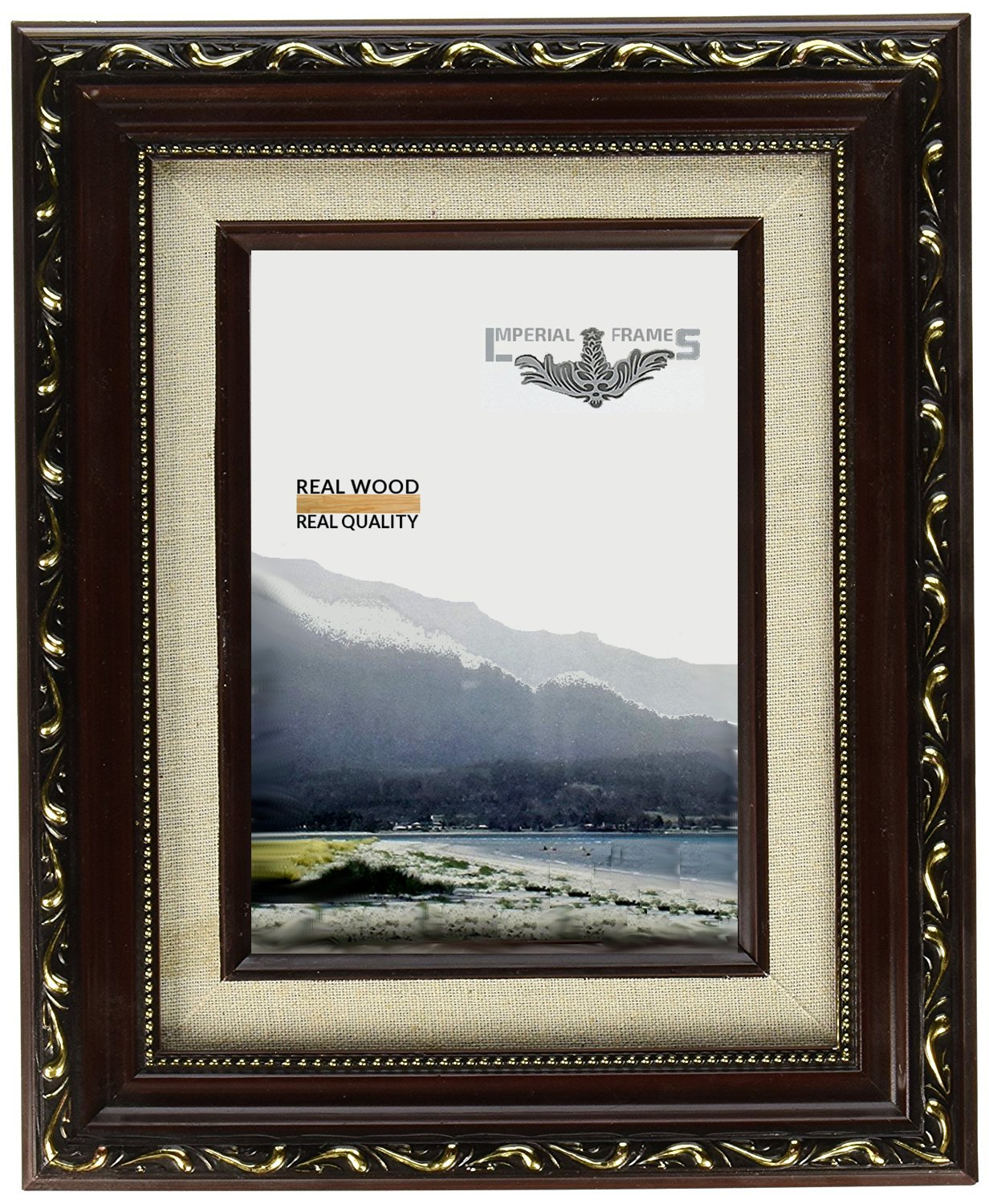 Imperial Frames 614B57 5 by 7-Inch/7 by 5-Inch Picture/Photo Frame, Dark Gold with Floral Design and A Canvas Liner