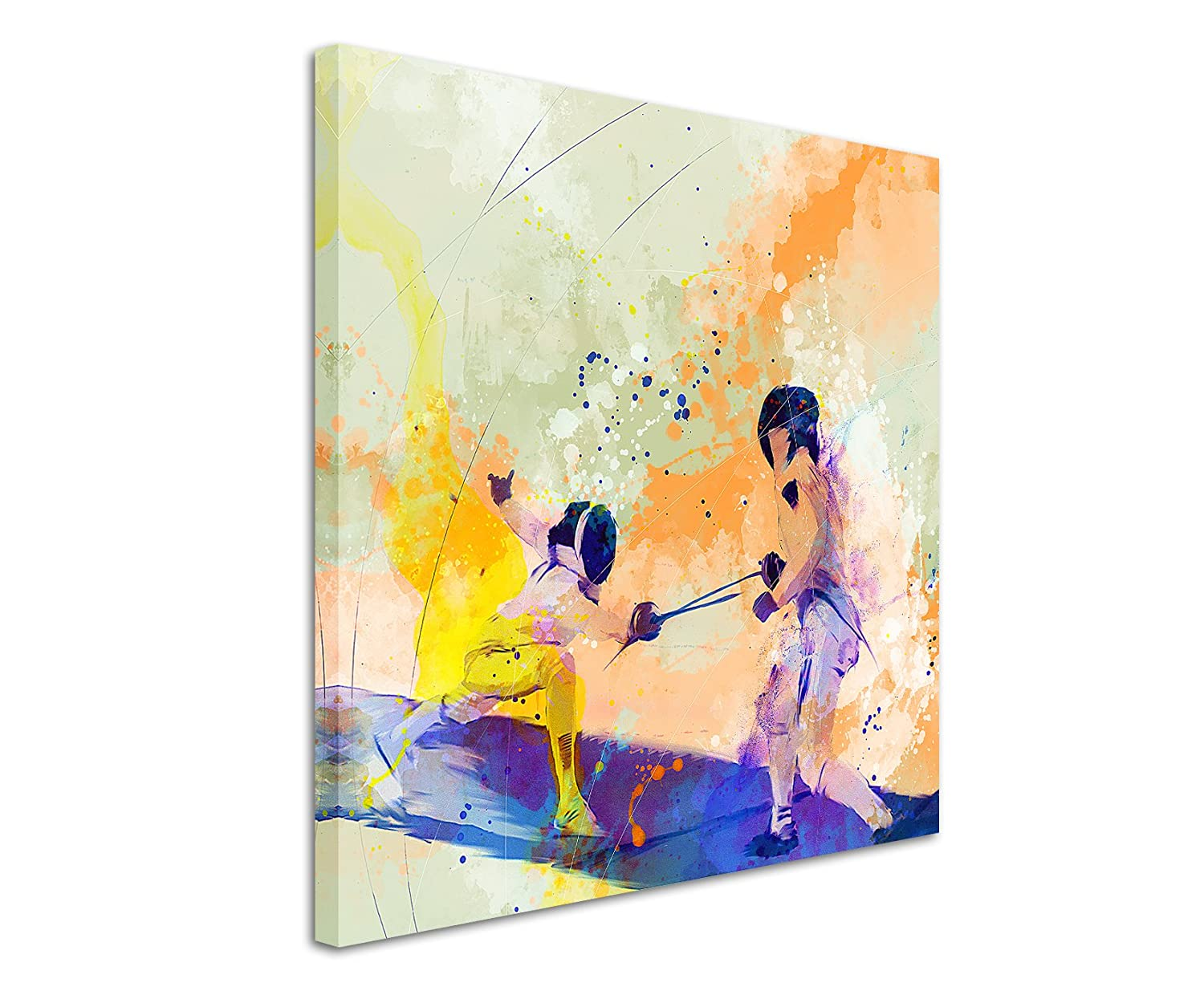 Fencing Sport Picture Wall II 60/x 60/cm Watercolour Art Colours by Paul Sinus