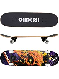 ohderii Complete Longboard Skateboards Cruiser Skateboard Through Downhill Skateboard Deck Concave Skateboards for...