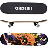 "ohderii Skate Complete Skateboards 31"" X 8"" Longboard Skateboard Cruiser Through Downhill Complete Canadian Maple 7 layers"