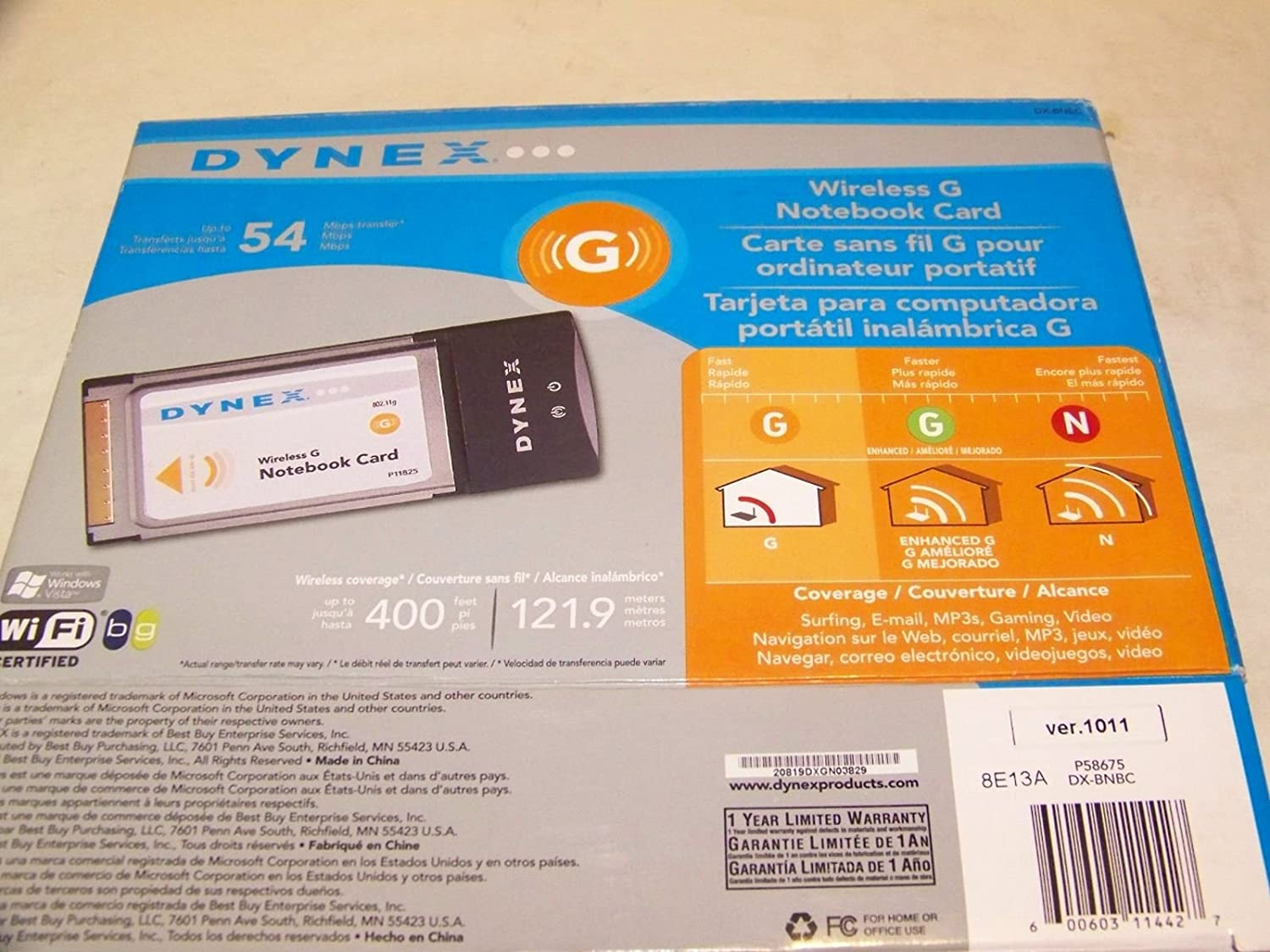 Amazon.com: Dynex DX-BNBC 54Mbps 802.11g Wireless LAN ...