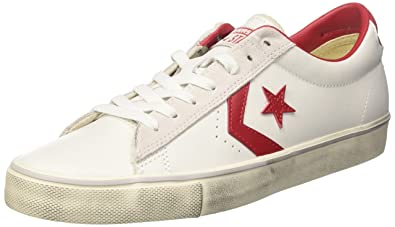 Converse Chaussures 152724C PRO LEATHER OX SNEAKERS Homme WHITE RED Converse soldes Bs0v6ibtsM