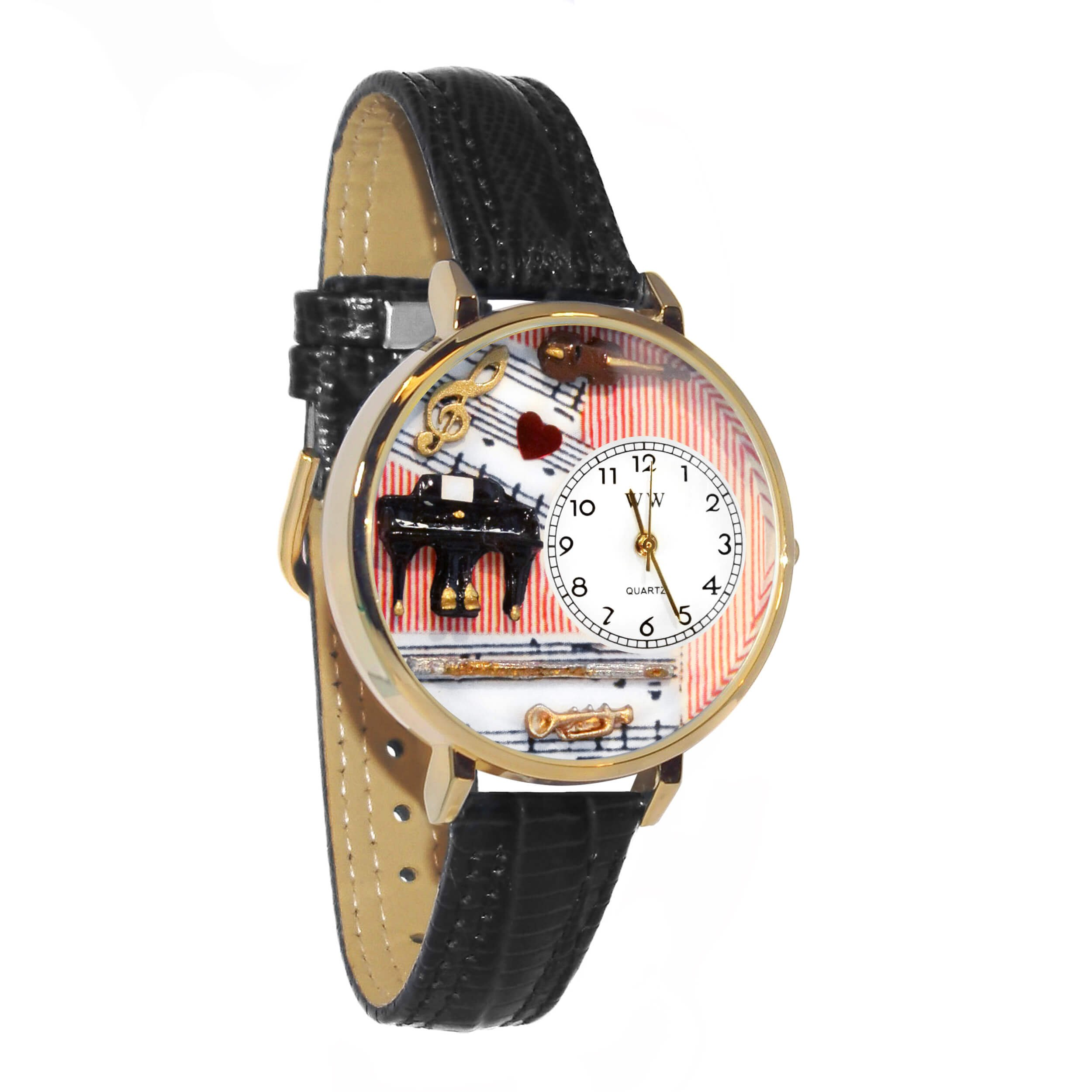 Whimsical Watches Unisex G0610001 Music Teacher Black Leather Watch